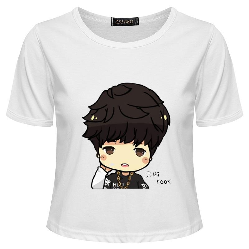 BTS Jung Kook Cartoon Cute Print T-shirt
