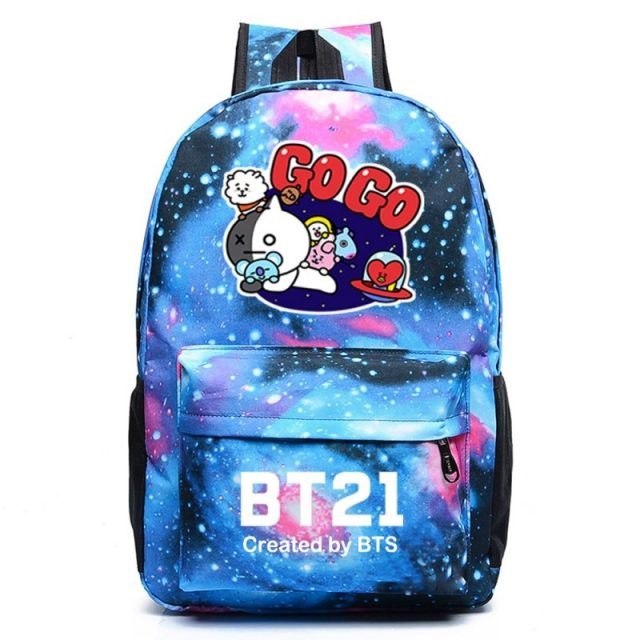 BTS BT21 Go Go Print Galaxy School Bag